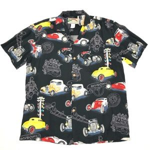 Vintage Paradise Found Race Cars Hawaiian Shirt M